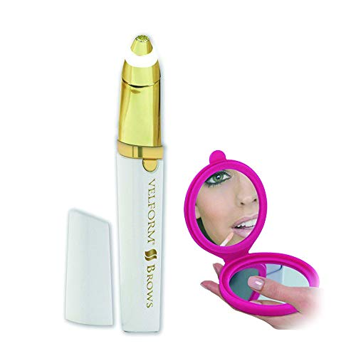 Velform Brows Epil Precision + Miroir Double Face Grossissant – Epilateur Haute Précision Spécial Sourcil hypoallergénique sans douleur ni irritation avec tête plaqué Or 18 carats et LED intégrée