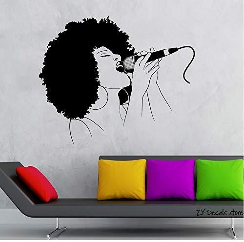 Black Lady Singer Wandtattoos Musik Frau Wandaufkleber Für Schlafzimmer Mädchen Wandkunst Wandbild Tapete Wohnkultur 42X50 Cm