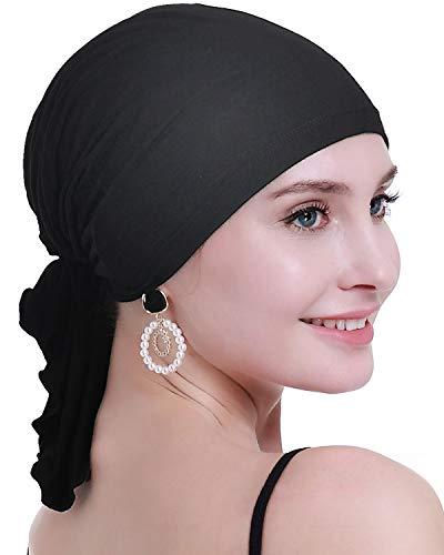 osvyo Bamboo Chemo Headscarf for Women Hair Loss - Cancer Slip On Headwear Turbans Sealed Packaging Black