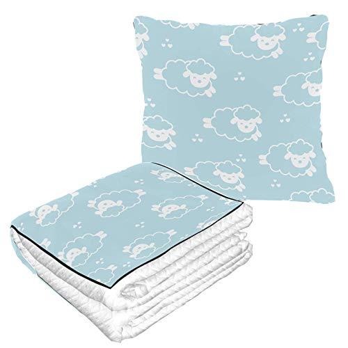 Manta de almohada 2 en 1 combo de dibujos animados saltando ovejas bebé patrón suave manta de viaje almohada cálida suave manta de forro polar para avión, camping, viajes en coche