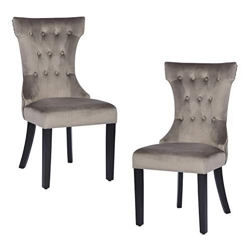 Juego de 2 sillas de Comedor de Lujo, Respaldo Alto con Acolchado de Terciopelo, Silla Acolchada Retro con Patas de Madera, Color Topo
