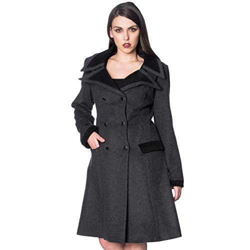 Banned Alternative Retro Coat Wollmantel grau XS