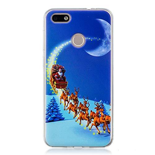 Mosoris Natale Cover per Huawei Y6 PRO 2017, Huawei P9 Lite Mini Cover Custodia Nuovo Trasparente Ultra Sottile Natalizia Decorazione Morbido TPU Bumper