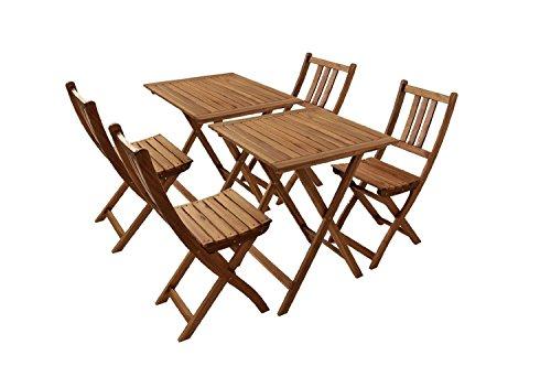 SAM Gartengruppe Blossom 1, 6tlg. Akazienholz, 2X Tisch + 4X Klappstuhl, zusammenklappbar, Tisch- Sitzgruppe
