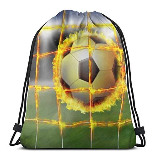 AOOEDM Mochila con cordón Net Sports Football Fireball Canvas Bulk Mochila para hombres Mujeres String Sports Gym Bag