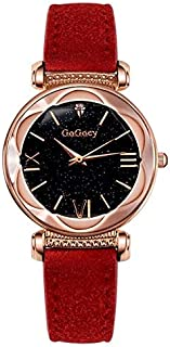 Fashion Ladies Starry Sky Leather Belt Watch(Black) Personality (Color : Red)