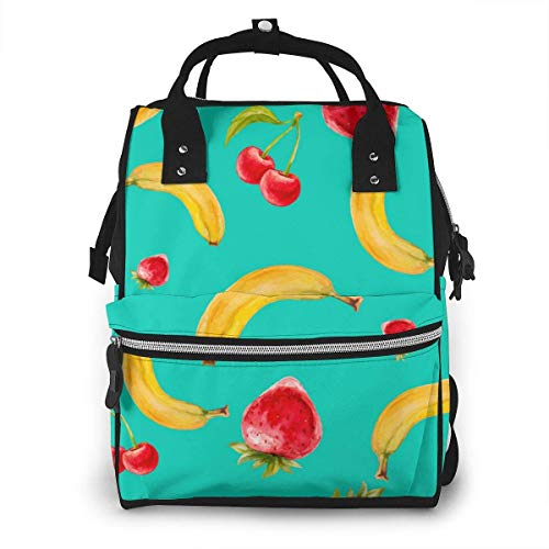 NHJYU Sac à langer, Large Capacity Waterproof Travel Ma-na-ger,baby Care Replacement Bag Versatile Stylish And Durable, Suitable For Mom And Dad,Banana Strawberry Cherry