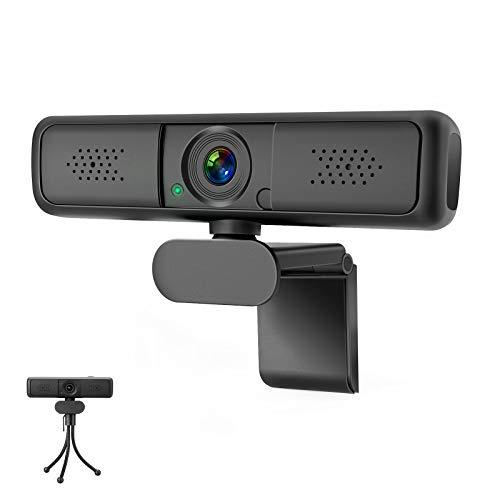 MECO ELEVERDE Webcam 2K Full HD 1440P mit Stereo-Mikrofon und Webcam Abdeckung, Kamerastativ Web-Kamera für Video-Streaming, Konferenz und Aufnahme, kompatibel mit Windows, Mac und Android
