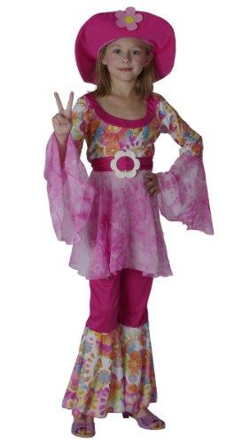 KULTFAKTOR GmbH 60er Hippie Kinderkostüm Flower Power pink-bunt 134/140 (10-12 Jahre)