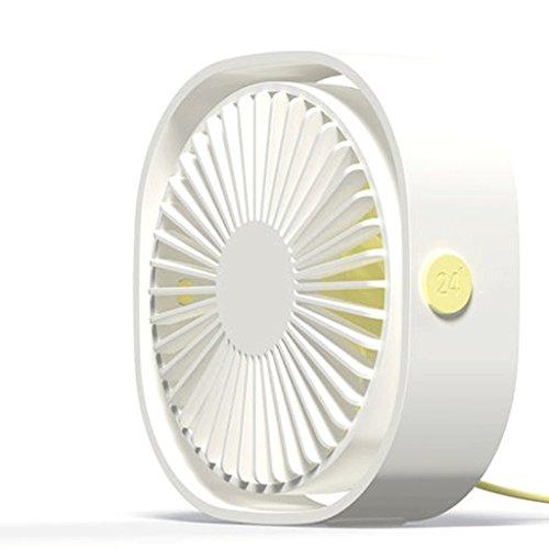 Ventiladores de sobremesa USB Fan Pequeño Ventilador Mini Pequeño Ventilador de Oficina Dormitory Mute Escritorio portátil de la computadora (Color : Blanco)