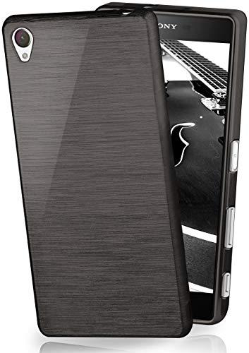 MoEx® Funda de Silicona con Aspecto Aluminio Cepillado Compatible con Sony Xperia Z5 en Noir