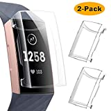KIMILAR Screen Protector Case Compatible with Fitbit Charge 4 / Charge 3, 2 Pack Soft Slim Ultra Clear Protective Case Cover Bumper Silicone Case Compatible with Fitbit Charge 4 / Charge 3 Smartwatch