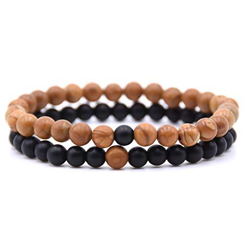 Pulsera Brazalete, Joyeria Regalo, HONEYYIYI 2Pcs/Set Natural Stone Mixing Beads Bracelet Men Bracelets & Bangles Jewelry Men Gifts Pulseras 15