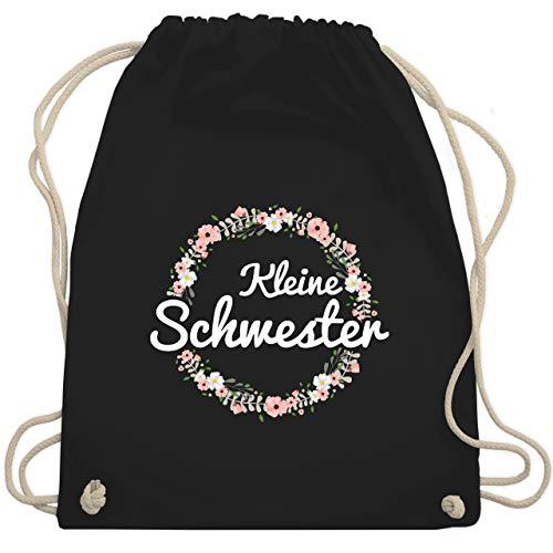 Shirtracer Geschwisterliebe Kind - Kleine Schwester Blumenkranz - Unisize - Schwarz - schwester beutel - WM110 - Turnbeutel und Stoffbeutel aus Baumwolle