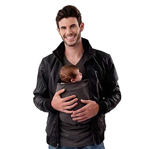 KURAZL Kangaroo Dad Stretch Kurzarm T-Shirt Umstandsmode Eine Große Tasche Babytrage Männliche Multifunktionsbluse Tank Rundhals Lässige Herrenmode,Grau,L
