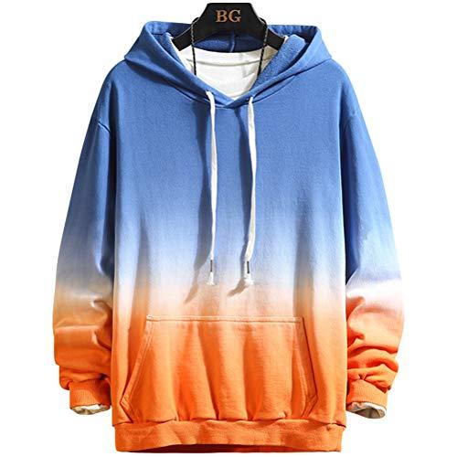 XIAOYAO Hoodie Herren & Damen Kapuzenpullover Sweatjacke, Mode Herren Pullover Sweatshirt (Blau orange, L)