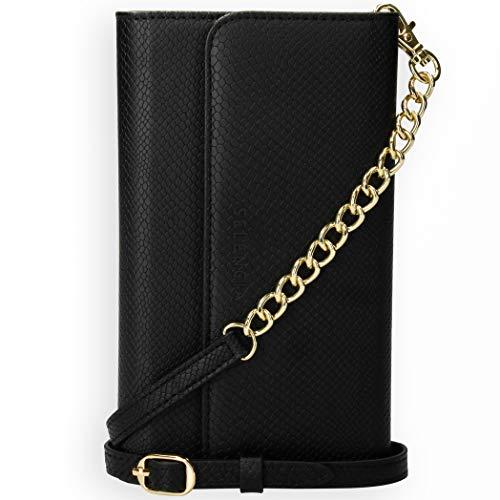 Selencia - Funda para iPhone 12 Mini con diseño de piel de serpiente - Funda para móvil con tapa trasera extraíble en negro [4 ranuras para tarjetas y correa para hombro]