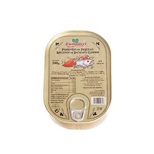 Pimiento de piquillo Rojo relleno de Bacalao y Gambas Camporel. Peso neto: 280gr.(pack 2 latas). Envío GRATIS 24h.