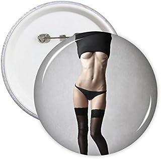 Negro Medias Nude Babe Hot Sexy Girl Pretty GAL Lady Imagen Clavijas Redondas Insignia botón Ropa decoración Regalo 5pcs
