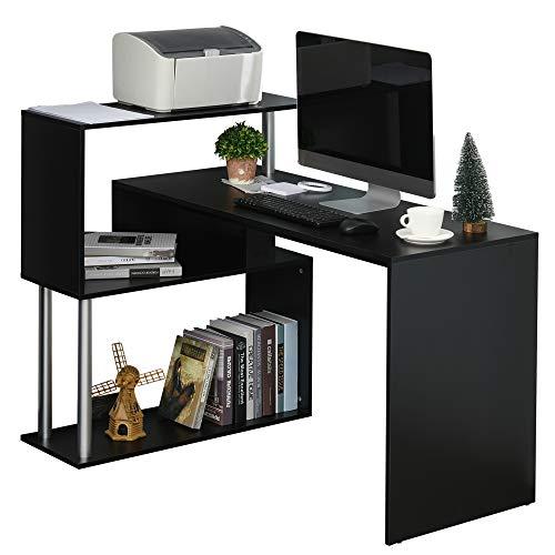 HOMCOM Escritorio de Esquina en Forma de L Mesa de Ordenador con Estantes de 3 Niveles de Almacenaje para Oficina o Estudio 120x80x97 cm Negro