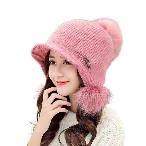 Krystle Winter Soft Warm Snow Proof Visor Pom Pom Cap (Inside Fur) Woolen Beanie Cap for Women's & Girl's (Pink)
