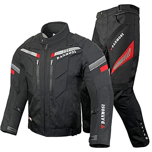 LITI Tuta da Moto per Adulto in Pelle E Tessuto Tuta Divisibile di Pelle da Moto Giacca E Pantaloni Separabili in 2 Pezzi Regolabile, Completa di Protezioni Ce