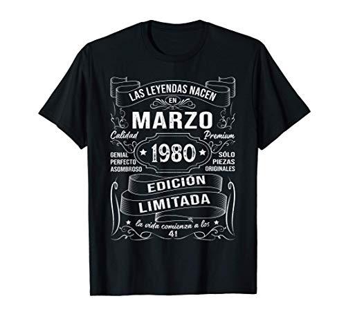 Leyendas Marzo 1980 Regalo Hombre Mujer 41 Años Cumpleaños Camiseta