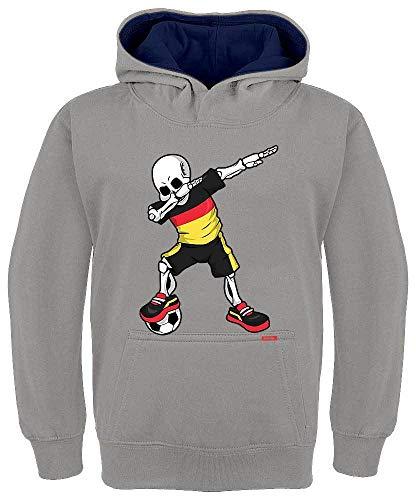 HARIZ Kinder Hoodie Kapuzenpullover Kontrast Fussball Dab Skelett Deutschland Trikot Mannschaft Plus Geschenkkarten Hell Grau/Navy Blau 128/7-8 Jahre