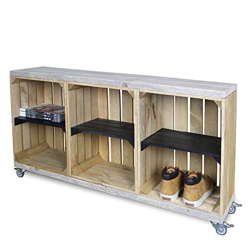 Steigerhoutpassie SchoenenKast - Bruin/Zwart - Mobiel - 120x30x63 cm
