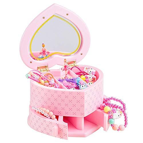 Muziekboxen voor meisjes, Musical Jewelry Opbergbox met Spinning Ballerina Musical Jewelry Box voor meisjes, schattig kinderjuwelendoosje voor cadeau voor kinderen roze