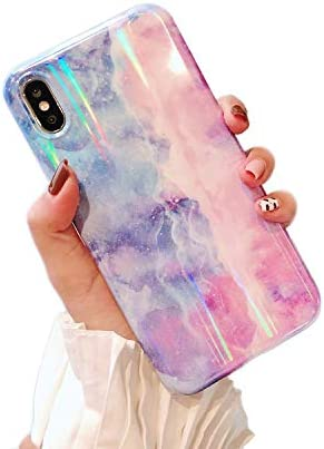 Cocomii Holographic Marble iPhone Xs Max Case, Slim Thin Glossy Soft TPU Silicone Rubber Gel Shiny Reflective Gradient Fashion Bumper Cover Compatible with Apple iPhone Xs Max 6.5
