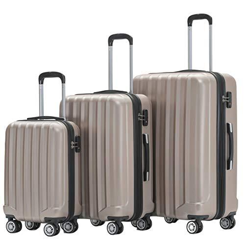 BEIBYE TSA-Schloß 2080 Hangepäck Zwillingsrollen neu Reisekoffer Koffer Trolley Hartschale Set-XL-L-M(Boardcase) (Champagner, Set)