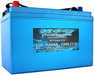 Banshee Deep Cycle Lithium Marine Battery Group Size 31 Replaces Optima D31M 9052-161 Bluetop 1200CCA