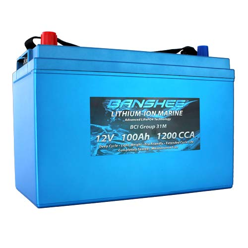Banshee Lithium Ion Deep Cycle Marine Battery Replaces Optima D31M 8052-161 SC31DM