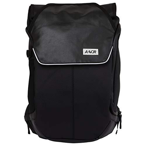 AEVOR Bike Pack - erweiterbarer Fahrrad-Rucksack, wasserfest, Rückenbelüftung, Laptopfach - Proof Black - Schwarz