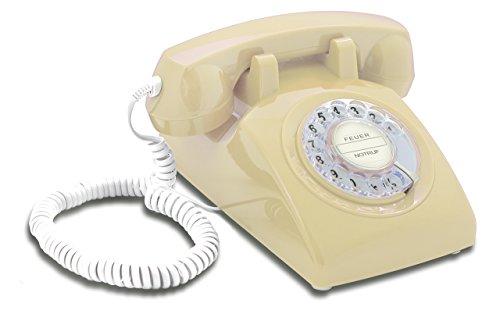 Opis 60s Cable mit klassischem Deutsche Post Pappeinleger: Retro Telefon im sechziger Jahre Vintage Design mit Wählscheibe und Metallklingel (beige)