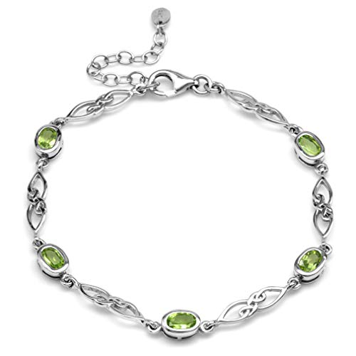 Silvershake 2.35ct. Natural Peridot White Gold Plated 925 Sterling Silver Celtic Knot 7.25 to 8.75 Inch Adjustable Bracelet