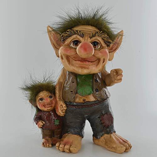 Troll - Adorno de fantasía para padres e hijos, decoración del hogar, adorno de jardín, alternativa mágica, regalo místico, regalo de 20 cm