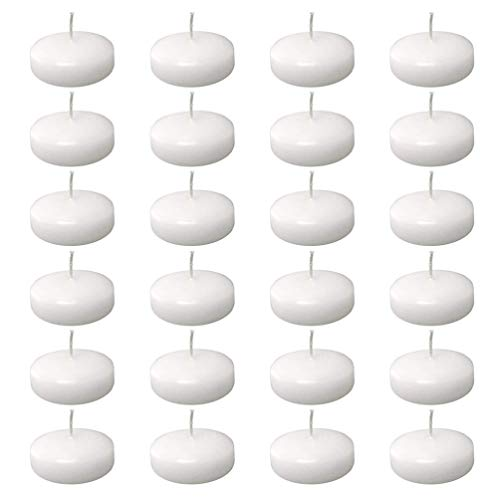 Uonlytech 24pcs Smokeless Floating Candles Natural Color Water Floating Mini Candle Flameless Floating Candles for Christmas Wedding Thanksgiving Party Decoration (White)