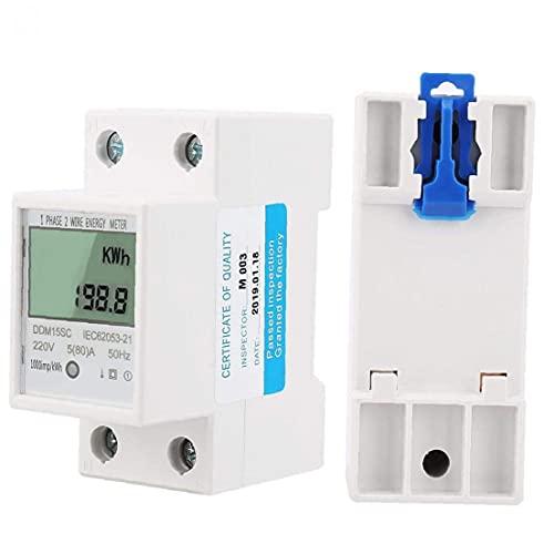 MaylFre Contador de la luz Digital monofásico medidor eléctrico con el indicador LCD para Carril DIN 5-80 suministra una DDM15SC Blanca del hogar Auxiliares