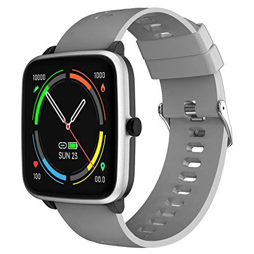 Fitness Tracker Smartwatch – Smart Watch braccialetto monitoraggio del sonno contapassi compatibile con Android e iOS per uomo donna giovane (grigio)