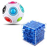 Roxenda Puzzle Toy Set of 2 - Rainbow Puzzle Ball, 3D Maze Magic Cube - Exciting Puzzle Game for Boys and Girls