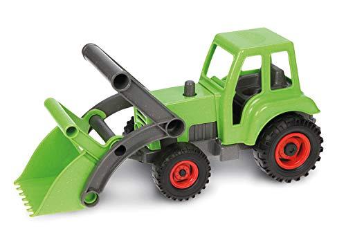 Lena 04213 EcoAktives Tractor met voorschop, ca. 35 cm, speelvoertuig voor kinderen vanaf 2 jaar, robuuste tracker met handvat en beweegbare laadschep, natuurlijke houtgeur door hout.