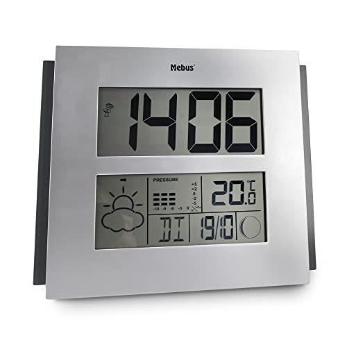Mebus Digitale Funk-Wetterstation extragroß für Wand oder Tisch, mit Wettervorhersage, Barometer, Mondphasen, Kalender und Weckfunktion/Alarm, gut lesbar/Farbe: Silber-Schwarz/Modell: 40330