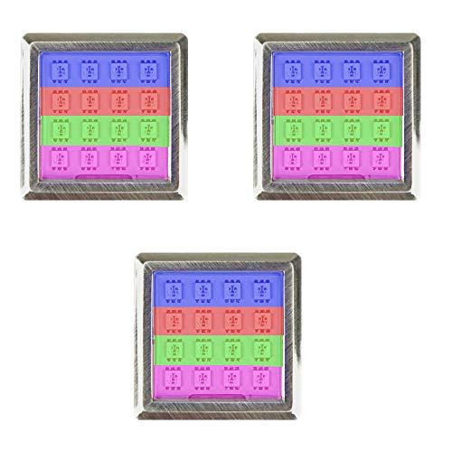 LED RGB Vitrinenbeleuchtung Glasbodenbeleuchtung Möbelleuchte Schrankleuchte SET, Auswahl:3er SET, Form:Quadratisch
