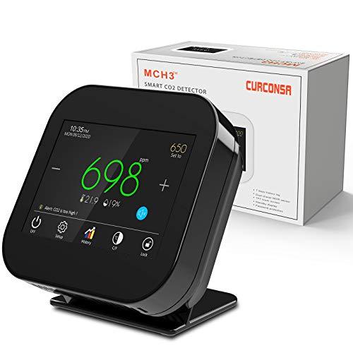 CO2 Messgerät,CURCONSA CO2-messgerät mit Umgebungstemperatur, Luftfeuchtigkeit und Uhr,Zweikanaliger NDIR-CO2-Sensor,3,5-Zoll-TFT-Farbbildschirm mit kapazitivem Touch,0~9999PPM.(Keine Batterie)