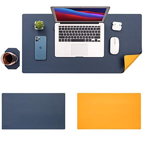 Myir JUN Alfombrilla de escritorio de oficina, Alfombrilla de Ratón, ImpermeableEstera Oficina, Doble caraBicolor PU Alfombrilla del escritorio del ordenador portátil, (Azul Amarillo, 80x40)