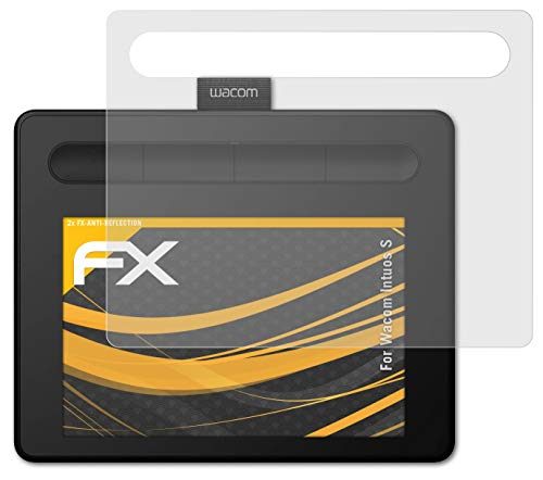 atFoliX Película Protectora Compatible con Wacom Intuos S Lámina Protectora de Pantalla, antirreflejos y amortiguadores FX Protector Película (2X)
