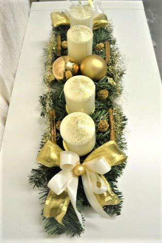 Generisch Adventskranz Creme-Gold 60 cm künstlich Weihnachten Advent Gesteck Adventsgesteck Kerzen