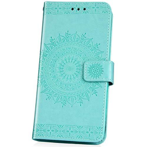 JAWSEU Compatible avec Huawei P30 Pro Coque Portefeuille PU Étui Cuir à Rabat Magnétique Mode Retro 3D Totem Fleur Motif Ultra Mince Stand Leather PU Flip Wallet Case,Vert